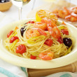 Seafood spaghetti pasta dish with shrimps — Stock Photo