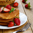 Stock Photo: Ready to eat pancakes with strawberry