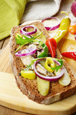Sprat sandwich with pickled vegetables — Stock Photo