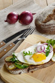 Fried egg open sandwich — Stock Photo