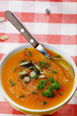 Homemade rustic pumpkin soup — Stock Photo