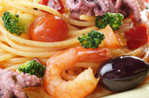 Seafood spaghetti marinara — Stock Photo