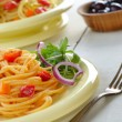 Stock Photo: Spaghetti and marinarsalad