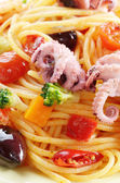 Seafood spaghetti marinara pasta macro photo — Stockfoto