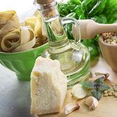 Ingredients for pasta pesto — Stock Photo