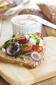 Liver paste sandwich with vegetables arugula and boiled egg — Stock Photo