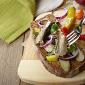 Sandwich with pickled cucumber — Stock Photo