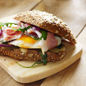 Fried eggs sandwich — Stock Photo