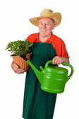Senior gardener with flower pot — Stock Photo