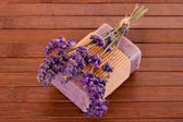 Soap with lavender blossosm — Stock Photo