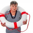 Stock Photo: Senior womwith lifesaver