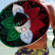 Man on the exotic beach with sombrero — Stock Photo