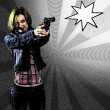 Comic blond girl with gun — Stock Photo