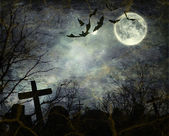 Morcegos voando no meio da noite — Foto Stock