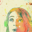 Teenage girl poster with watercolor — Stock Photo