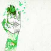 Poster of a hand with watercolor stains — Stock Photo