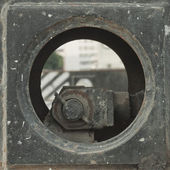 Round metal plate — Stock Photo
