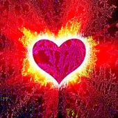 červené srdce s paprsky na černém — Stock fotografie