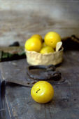 Yellow plums simple still life — Stock Photo