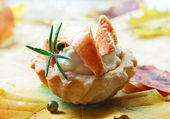 Flan with saffron milk cap and rosemary — Stock Photo