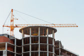 Tower crane on a construction site — Stock Photo