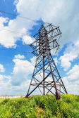 High voltage line and cloudy sky — Stock Photo