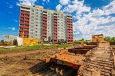 Koło maszyny na placu budowy — Zdjęcie stockowe