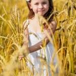 Little girl among wheat ears — Stock Photo