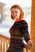 Portrait of beautiful red-haired young woman — Stock Photo