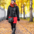 Portrait of beautiful red-haired young woman walking in autumn p — Stock Photo