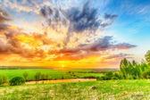 Sunset on the plain — ストック写真