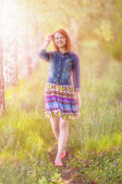 Yound ginger-haired woman — Stock Photo