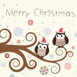 Christmas card. Birds on a winter branch. — Vector de stock