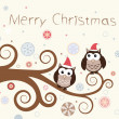 Christmas card. Birds on a winter branch. — Stockvector