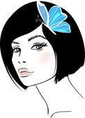 Beauty woman portrait. design element. — Stock Vector