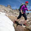 Hiking woman in mountains with snow - Foto Stock