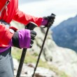Nordic walking hands in high mountains — Stock Photo