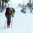 Stock Photo: Hiking on snow trail in winter