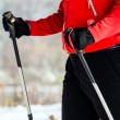 Woman nordic walking in winter, outdoor sport and fitness, healt — Stock Photo