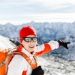 Hiking success, happy woman in winter mountains — Stock Photo