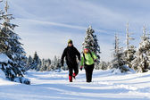 Couple hiking on snow in winter mountains — Stock Photo