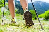 северной ходьбы ноги в горах — Стоковое фото