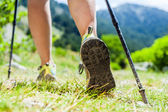 Nordic walking legs in mountains — Stok fotoğraf