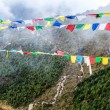 Nepal and and tibetan prayer flags in mountains - Stock Photo