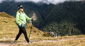 Woman hiker nordic walking in mountains — Stock Photo