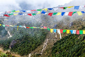 Nepal and and tibetan prayer flags in mountains — Stock Photo