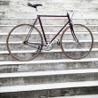 City road bicycle on stairs, vintage style — Foto Stock