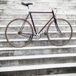 City road bicycle on stairs, vintage style — Stock Photo
