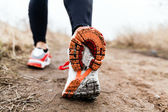 Walking or running legs sport shoes — Foto Stock