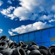 Recycling business, container and tires — Stock Photo